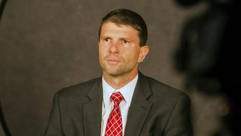 Austin Peay Women's Basketball coach David Midlick at OVC Media Day. (APSU Sports Information)