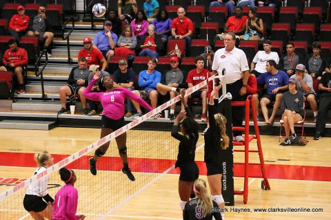 Austin Peay Women's Volleyball senior Ashley Slay had 13 kills in the loss to Eastern Kentucky Saturday afternoon.