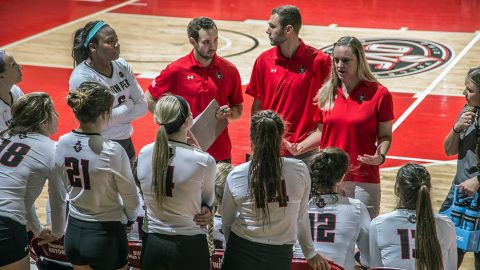 Austin Peay Volleyball defeats Tennessee State in four sets at the Dunn Center for forth win in a row. (APSU Sports Information)