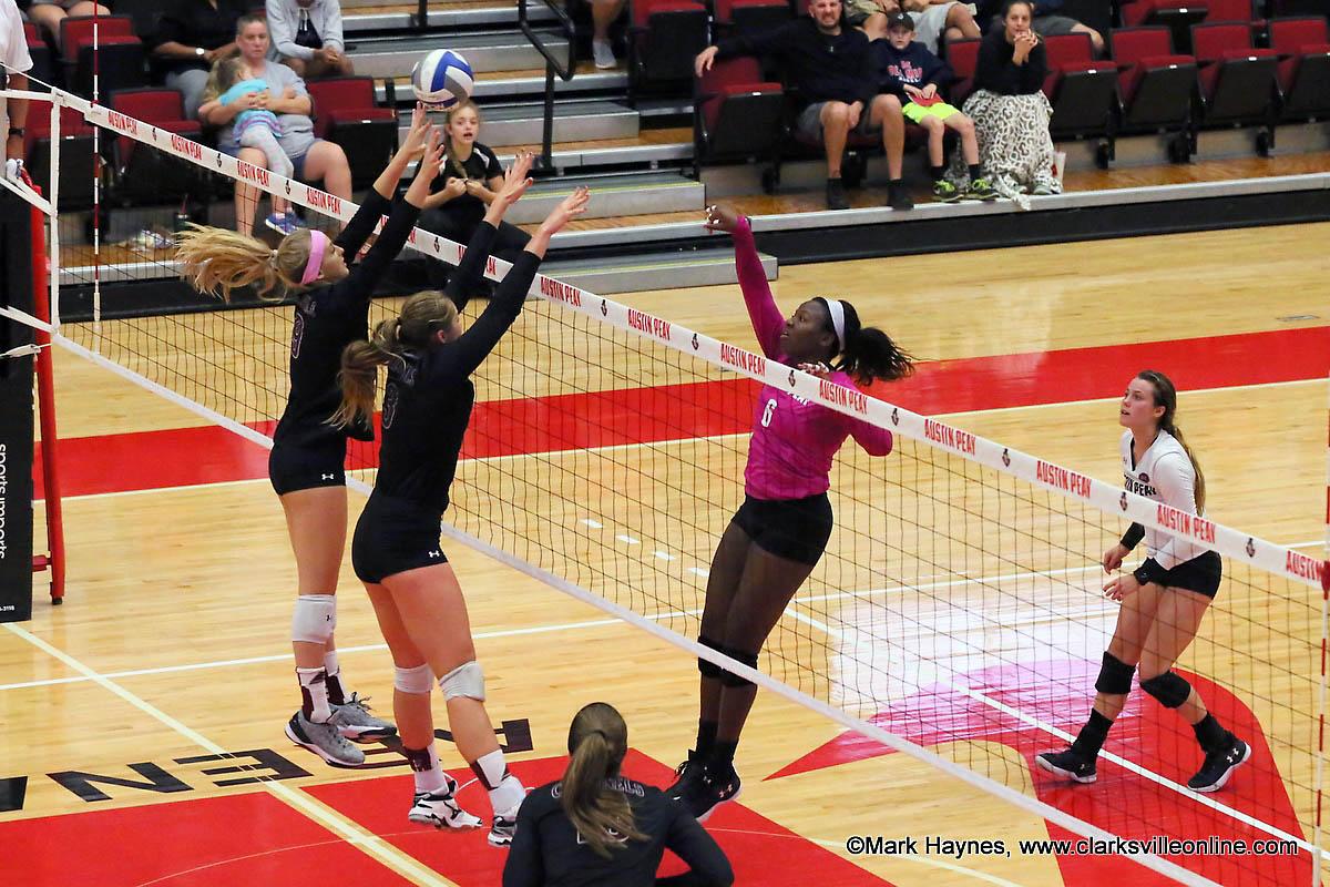 Austin Peay Volleyball senior Ashley Slay has 12 kills and 2 blocks in win over Eastern Illinois Friday. (APSU Sports Information)