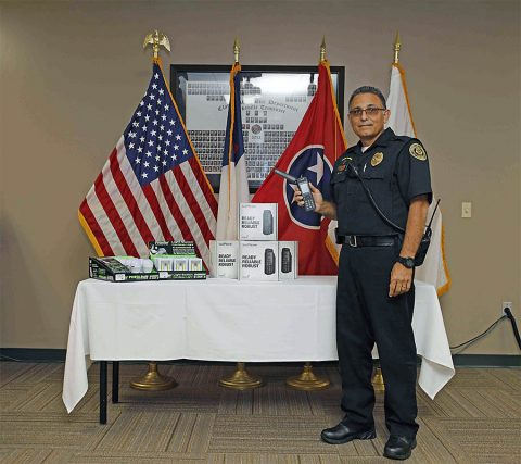 Clarksville Police Chaplain Martinez will take four satellite phones to Puerto Rico on October 10th. (Jim Knoll, CPD)