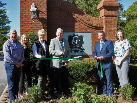Clarksville Country Club Green Certification ribbon cutting. (L to R) David Graham, Heather Fleming, Melinda Shepard, Ben Jones, Mayor Jim Durrett and Carlye Sommers.