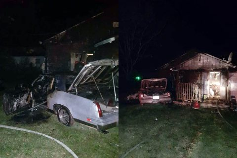 Vehicle gets shot on Daniel Street, strikes a house and both car and house catch fire.