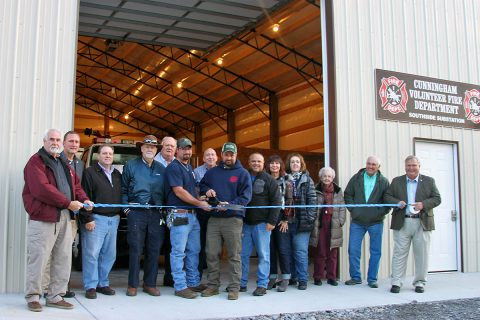 Members of Cunningham Volunteer Fire Rescue, Fire Protection Committee, County Commissioners, Sheriff John Fuson, and community members attended the ribbon cutting. Mayor Durrett was unable to attend because of a budget committee meeting.
