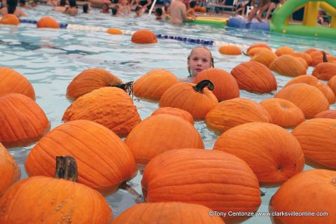 More than 400 swimmers took part in Clarksville Parks and Recreation's annual Floating Pumpkin Patch Saturday afternoon.