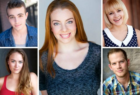 Charly Dannis (center) stars as Puck, alongside (clockwise from top left) Dean Cestari, Michelle Foletta, Josh Bernaski and Emily Rourke as the four lovers, in A Midsumer Night's Dream: The Musical at the Roxy Regional Theatre, November 3rd - November 11th.