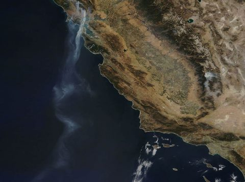 NASA's Terra satellite saw a stream of smoke that extended over 500 miles from various fires raging in northern California out over the Eastern Pacific Ocean. (NASA image courtesy Jeff Schmaltz, MODIS Rapid Response Team.)