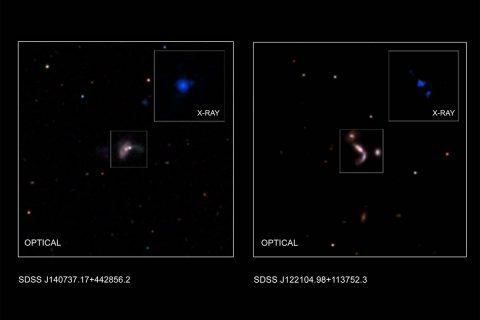 This graphic shows two of five new pairs of supermassive black holes recently identified by astronomers using a combination of data from NASA's Chandra X-ray Observatory, the Wide-Field Infrared Sky Explorer Survey (WISE), and the ground-based Large Binocular Telescope in Arizona. (X-ray (J122104): NASA/CXC/George Mason Univ./S.Satyapal et al.; X-ray (J140737): NASA/CXC/Univ. of Victoria/S.Ellison et al.; Optical: SDSS; Illustration: NASA/CXC/A.Hobart)