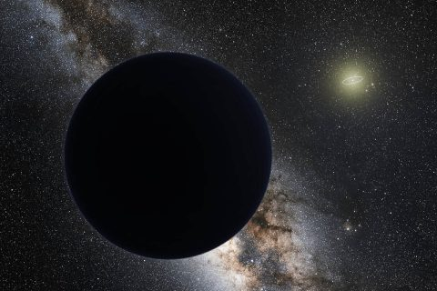 An artist's illustration of a possible ninth planet in our solar system, hovering at the edge of our solar system. Neptune's orbit is shown as a bright ring around the Sun. (ESO/Tom Ruen/nagualdesign)