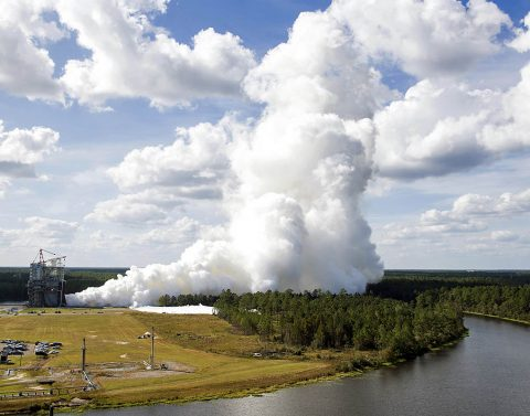 NASA engineers conduct a full-duration, 500-second test of RS-25 flight engine E2063 on the A-1 Test Stand at Stennis Space Center on Oct. 19, 2017. Once certified, the engine is scheduled to help power NASA's new Space Launch System rocket on its Exploration Mission-2. The test was part of Founders Day Open House activities at Stennis. (NASA/SSC)