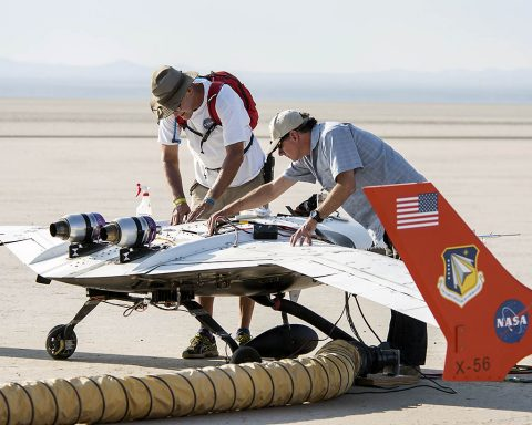 James Smith and Gary Cosentino prepare the X-56A for flight. Researchers are using the aircraft to investigate if highly-flexible, lightweight wings can be controlled. (NASA Photo / Lauren Hughes)