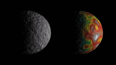 This photo shows dwarf planet Ceres as seen by NASA's Dawn. The map overlaid at right gives scientists hints about Ceres' internal structure from gravity measurements. (NASA/JPL-Caltech/UCLA/MPS/DLR/IDA)