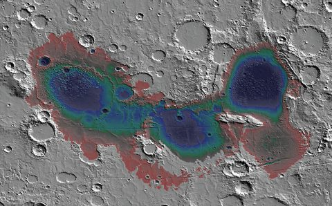 The Eridania basin of southern Mars is believed to have held a sea about 3.7 billion years ago, with seafloor deposits likely resulting from underwater hydrothermal activity. (NASA)
