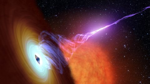 This artist's concept shows a black hole with an accretion disk -- a flat structure of material orbiting the black hole - and a jet of hot gas, called plasma. (NASA/JPL-Caltech)
