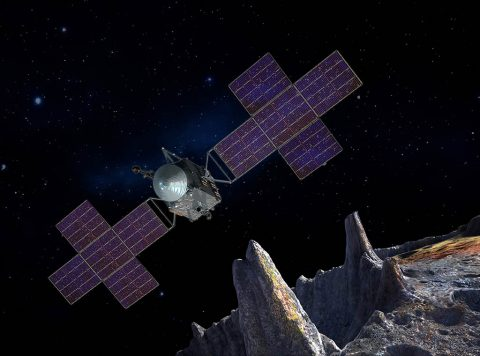 Artist's concept of the Psyche spacecraft, which will conduct a direct exploration of an asteroid thought to be a stripped planetary core. (SSL/ASU/P. Rubin/NASA/JPL-Caltech)