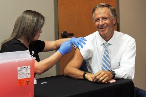 Tennessee Governor Bill Haslam receives his annual influenza vaccination at the Jackson-Madison County Regional Health Department in Jackson, Tennessee October 2nd, 2017.