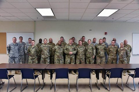 Twenty-two Tennessee National Guard members assigned to Detachment 5, Company B, 248th Aviation Support Battalion, attend a departure ceremony Sept. 28 at Joint Base Berry Field, Nashville, Tenn. The detachment departed Nashville Sept. 30 to participate in pre deployment training at Fort Hood, Texas before deploying to Kuwait in support of Operation Spartan Shield.