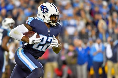 Tennessee Titans running back Derrick Henry (22) rushes against the Indianapolis Colts during the first half at Nissan Stadium. (Jim Brown-USA TODAY Sports)