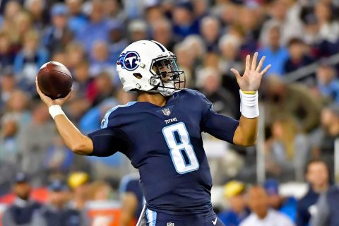 Tennessee Titans quarterback Marcus Mariota (8) throws a pass against the Indianapolis Colts during the first half at Nissan Stadium on October 16th, 2017. (Jim Brown-USA TODAY Sports)
