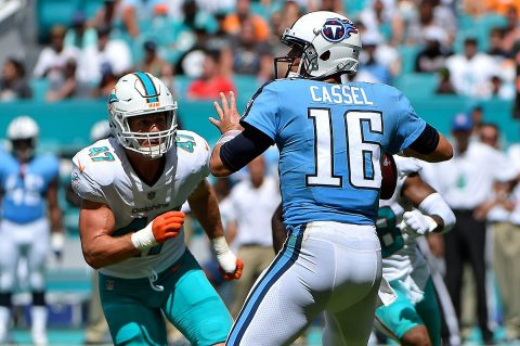 Miami Dolphins middle linebacker Kiko Alonso (47) pressures Tennessee Titans quarterback Matt Cassel (16) during the first half at Hard Rock Stadium on October 8th, 2017. (Jasen Vinlove-USA TODAY Sports)