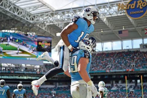 Tennessee Titans wide receiver Rishard Matthews (18) celebrates the touchdown of Tennessee Titans tight end Phillip Supernaw (89) during the second half against the Miami Dolphins at Hard Rock Stadium. (Jasen Vinlove-USA TODAY Sports)