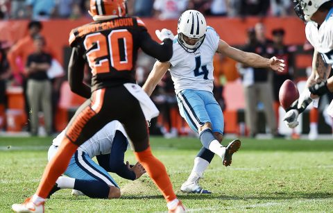 Tennessee Titans kicker Ryan Succop (4) kicks the game-winning field goal in overtime against the Cleveland Browns at FirstEnergy Stadium.  (Ken Blaze-USA TODAY Sports)