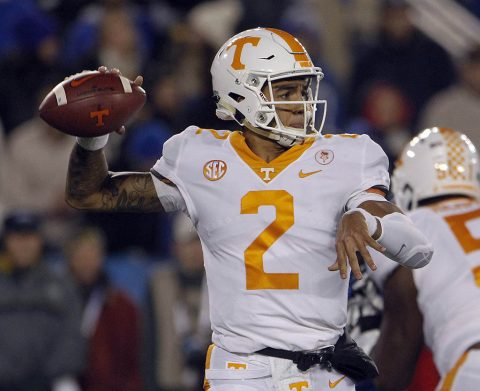 Tennessee Volunteers quarterback Jarrett Guarantano (2) passes the ball against the Kentucky Wildcats in the first quarter at Commonwealth Stadium. (Mark Zerof-USA TODAY Sports)
