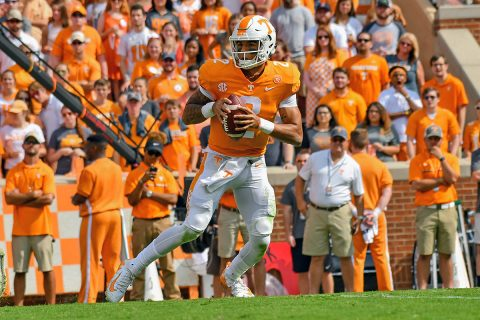Tennessee Volunteers quarterback Jarrett Guarantano (2) looks to pass the ball against the South Carolina Gamecocks during the first quarter at Neyland Stadium. (Randy Sartin-USA TODAY Sports)
