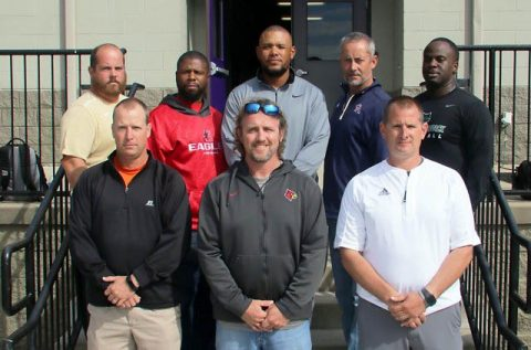 West Team Coaches 2017: Front row (l-r) Scott Stidham, Brandon Gray, Matt McConnell. Back row (l-r) Dustin Wilson, Brian Waite, Steve Hookfin, Charlie Lansdell, Anthony Jones Jr.