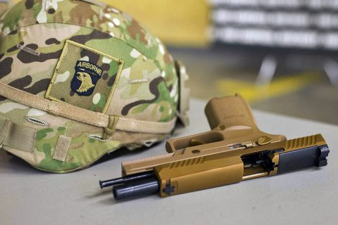 The M17 or Modular Handgun System is the Army's newest handgun currently being fielded to Soldiers. The 101st ABN DIV (AASLT), the word's only air assault division, is the first unit in the Army to field the service's new handgun. The M17 replaces the M9 pistol, the standard Army sidearm since 1986. (Sgt. Samantha Stoffregen, 101st Airborne Division (Air Assault) Public Affairs)