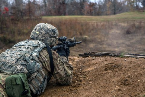 "Spc. Draven Pancake, a native of Evansville, Indiana, and an infantrymen with Company C, 3rd Battalion, 187th Infantry Regiment, 3rd Brigade Combat Team ""Rakkasans"", 101st Airborne Division (Air Assault), engages targets, from his support-by-fire position, Nov. 7. The support-by-fire was set up while the bravo team maneuvered into a flanking position to take out the enemy bunker. (Spc. Patrick Kirby, 40th Public Affairs Detachment)"