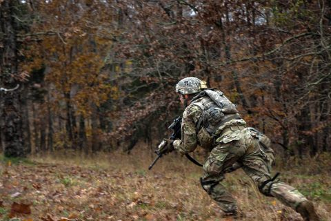 """Spc. Draven Pancake, a native of Evansville, Indiana, and an infantrymen with Company C, 3rd Battalion, 187th Infantry Regiment, 3rd Brigade Combat Team """"Rakkasans"""", 101st Airborne Division (Air Assault), engages targets, from his support-by-fire position, Nov. 7. The support-by-fire was set up while the bravo team maneuvered into a flanking position to take out the enemy bunker. (Spc. Patrick Kirby, 40th Public Affairs Detachment)"""