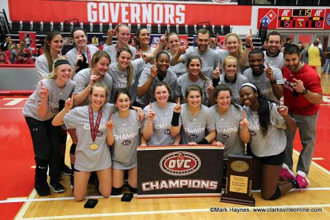 2017 OVC Champion Austin Peay Volleyball team.