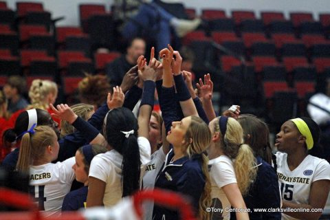 Murray State Racers defeat Jacksonville State Gamecocks in four sets Thursday afternoon in the OVC Volleyball Championship held at the APSU Dunn Center.