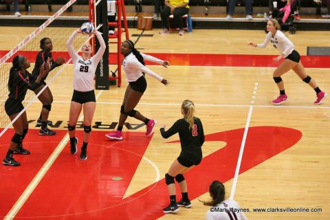 Austin Peay Volleyball beats Southeast Missouri in straight sets in the OVC Volleyball Championships Thursday night at the Dunn Center.