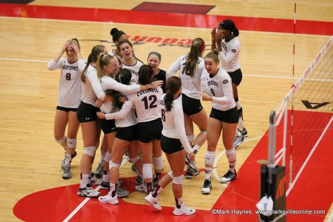 Eastern Kentucky Colonels beat Belmont Bruins in five sets Thursday night in the OVC Volleyball Championship tournament at the APSU Dunn Center.