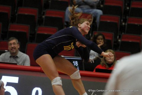 Murray State Racers advance to OVC Volleyball Championship game with four set win over Eastern Illinois Panthers Friday at the APSU Dunn Center.