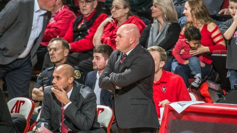 Matt Figger gets his first win as Austin Peay Men's Basketball Head Coach Tuesday night at the Dunn Center. (APSU Sports Information)
