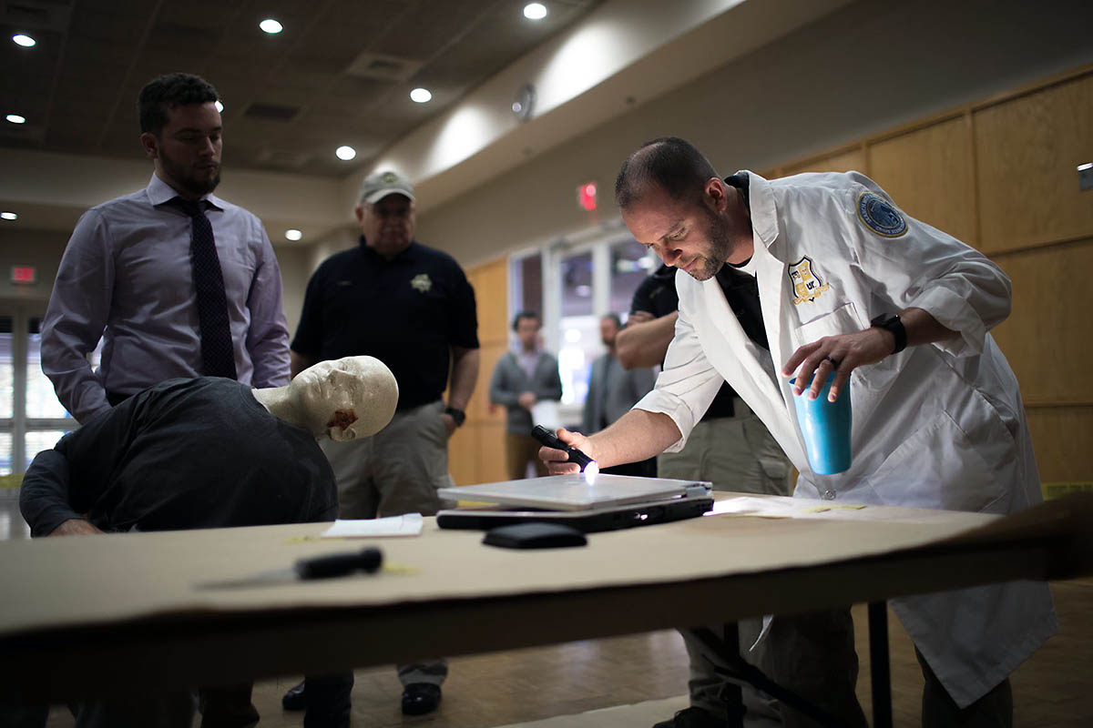 Montgomery County Sheriff's Office helps Austin Peay create a mock crime scene for students.