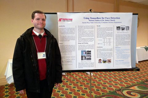 APSU computer science major Michael Timbes presented his research into Google TensorFlow at the conference.