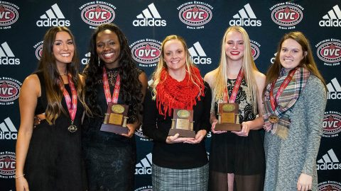 Austin Peay Volleyball receives OVC year end awards. (L to R) Christina White, Ashley Slay, head coach Taylor Mott, Kristen Stucker, and Brooke Moore. (APSU Sports Information)