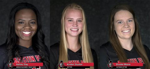 APSU Volleyball's Ashley Slay, Kristen Stucker and Brooke Moore