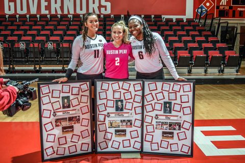 Austin Peay Volleyball seniors Christina White, Allie O'Reilly and Ashley Slay were honor during Senior Day ceremonies befor the UT Martin match at the Dunn Center Friday night. (APSU Sports Information)