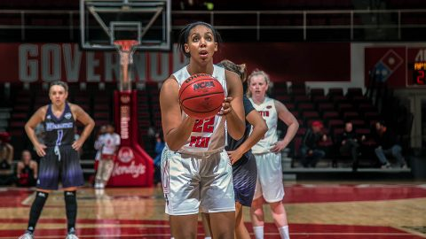 Austin Peay Women's Basketball junior guard Keisha Gregory scores 17 points in win over Alabama A&M. (APSU Sports Information)