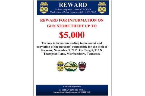 ATF offers $ 5,000 reward in Murfreesboro Gun Store Theft