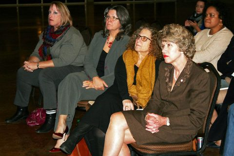 A group of leaders, from left, Councilwoman Deanna McLaughlin, Grants Analyst Debbie Smith, Tennessee ACLU Director Hedy Weinberg, Clarkville Mayor Kim McMillan and Councilwoman Valerie Guzman listen Tuesday to a Clarksville Police presentation on body-worn cameras.