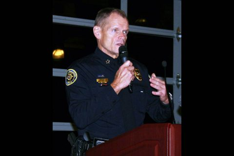 Clarksville Police Chief Al Ansley spoke at a public meeting Tuesday night about the body-worn camera program being implemented in Clarksville.