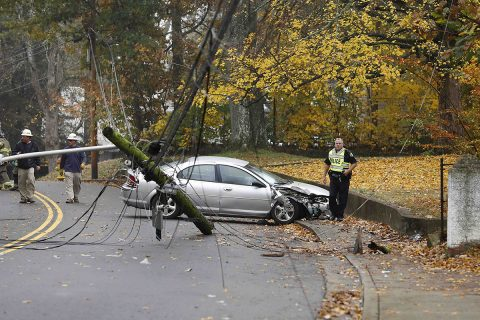 Clarksville Police respond to a stolen car crashing into a utility pole on Greenwood Avenue Monday.