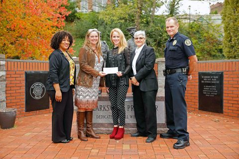 (L to R) Andrea Tennyson-Victim Assistance. Rebecca (Becky) Ashworth (Bank of America), Natalie Blackmon-Victim Assistance, Sgt Tina Slaven (Special Victims Unit), and Clarksville Police Chief Ansley.