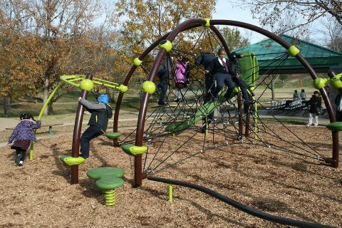 Tabernacle Christian School students on the new playground equipment at Clarksville's Valleybrook Park.